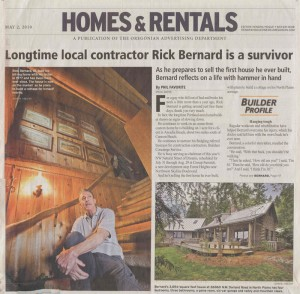 Article on cover of Home section of the Oregonian featuring Rick Bernard Custom Builder as a Survivor.