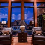 Living room front windows at twilight of 2013 Street of Dreams Custom Home 20-20 by Rick Bernard of Bernard Custom Homes.