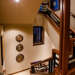 Looking out from midway point of stairwell between first and second floor of 2013 Street of Dreams Custom Home 20-20 by Rick Bernard of Bernard Custom Homes.