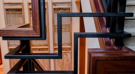 Unique stair rails from outside to inside the home of 2013 Street of Dreams Custom Home 20-20 by Rick Bernard of Bernard Custom Homes.