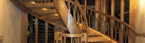 Coventry 1983 main spiral staircase - Bernard Custom Homes - Street of Dreams.