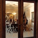 Marquis 1991 - dining room doors with custom etched glass - Bernard Custom Homes - Street of Dreams.