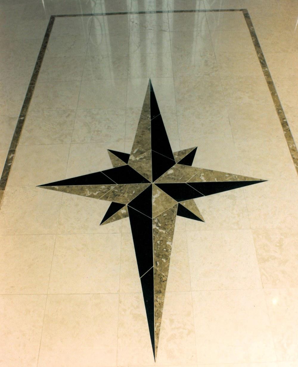 Oregon Dream 1995 - Marble Medallion in Entry Hall Floor - Bernard Custom Homes - Street of Dreams.