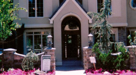 Oregon Fir 2001 front entrance landscape - Street of Dreams custom home by Rick Bernard Custom Homes.