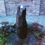 Oregon Fir 2001 front fountain landscape - Street of Dreams custom home by Rick Bernard Custom Homes.