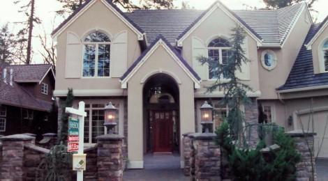 Oregon Fir 2001 front house - Street of Dreams custom home by Rick Bernard Custom Homes.