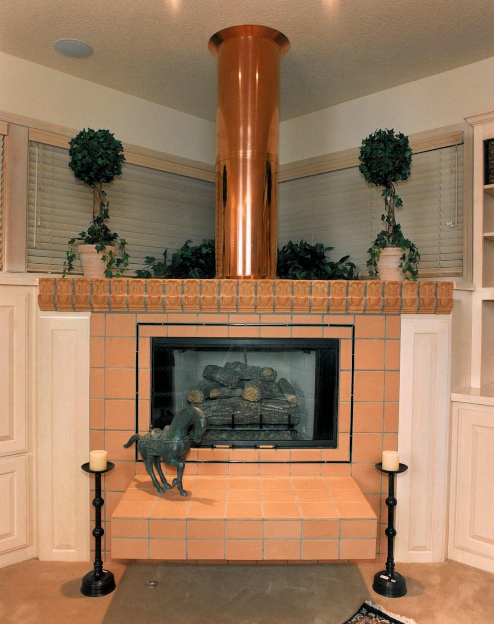 Oregon Jewel 1994 - copper chimney flue in family room - Bernard Custom Homes - Street of Dreams.