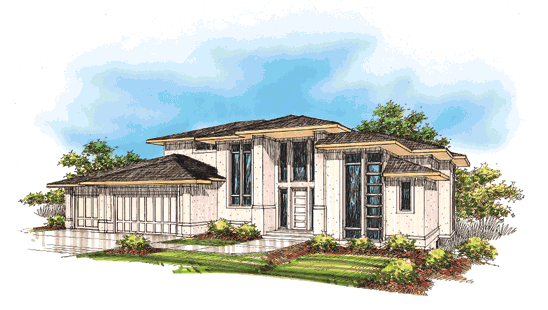Oregon Sunset 1996 Street of Dreams home by Rick Bernard of Bernard Custom Homes - Architect Drawing.