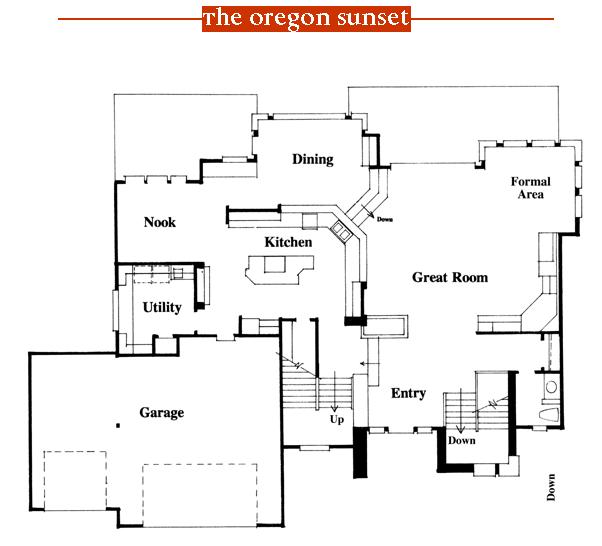 Oregon Sunset 1996 Street of Dreams home by Rick Bernard of Bernard Custom Homes - First Floor Plan.