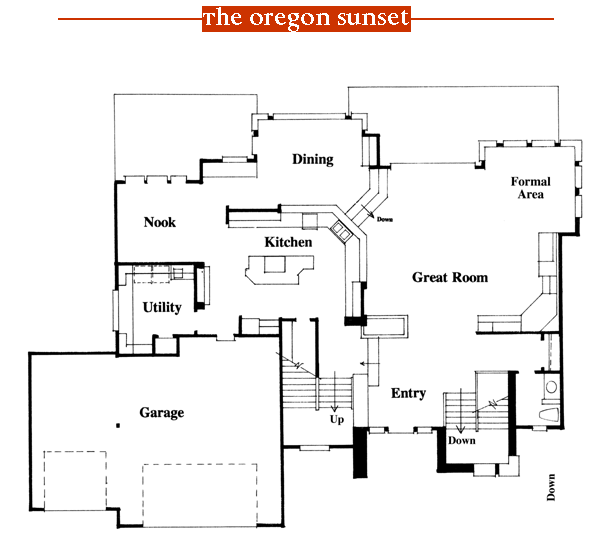 Oregon Sunset 1996 Street of Dreams home by Rick Bernard of Bernard Custom Homes - First Floor Plan.