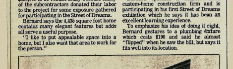 Newspaper article - 1980 - Nothing Held Back in Bernard Excelsior - Street of Dreams promotion featuring Rick Bernard.