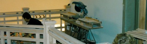 Construction - fine finish carpentry on stair railings - Larry Symons and coworker custom homes by Rick Bernard.