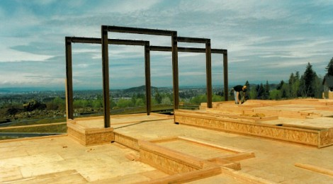 Construction phase - moment frame for windows for buliding structural rigidity - space frames for custom home by Rick Bernard.